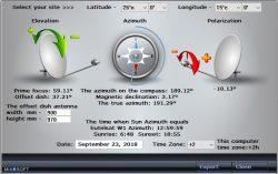 Углы антенны в FastSatFinder